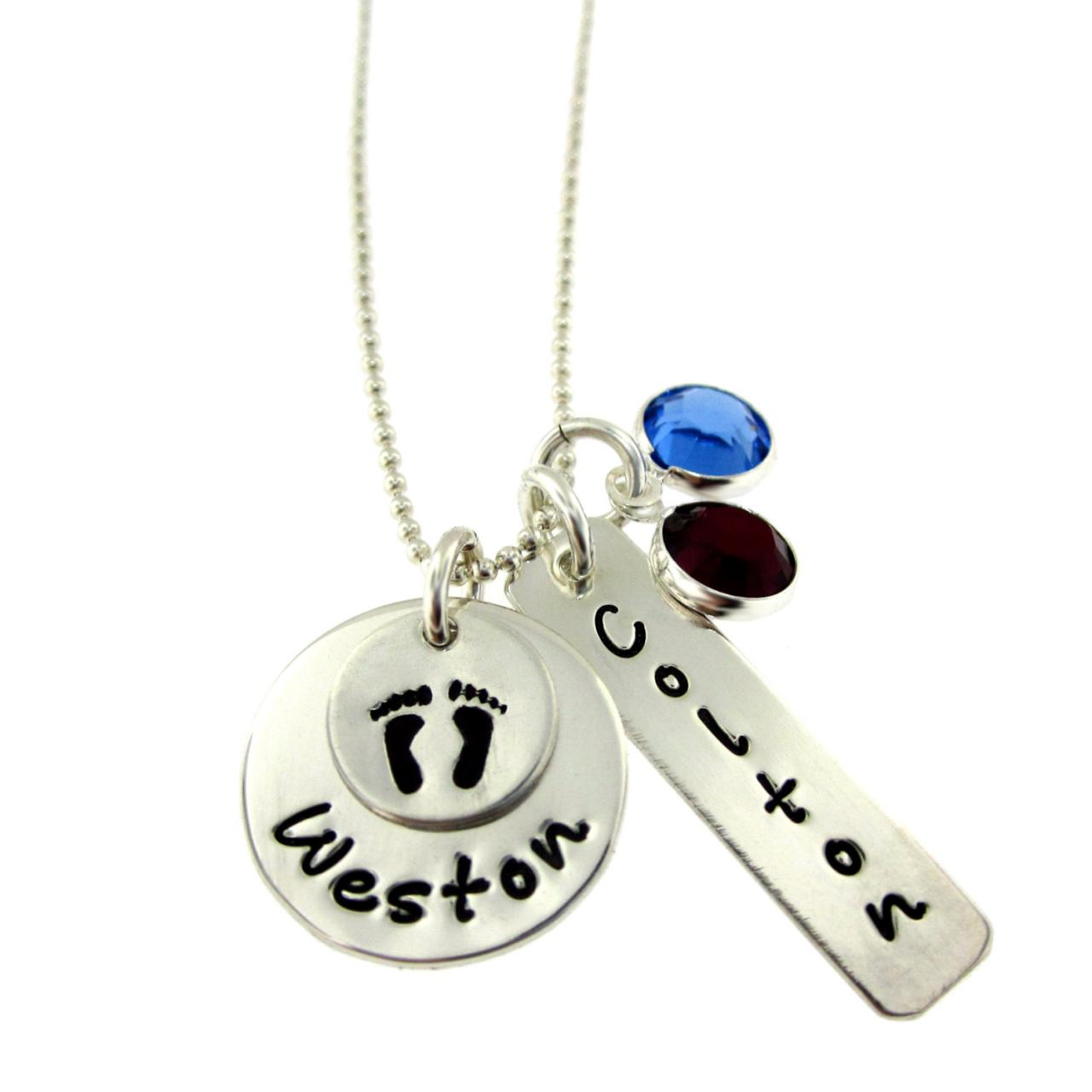 Welcome Home New Baby Necklace with Birthstones