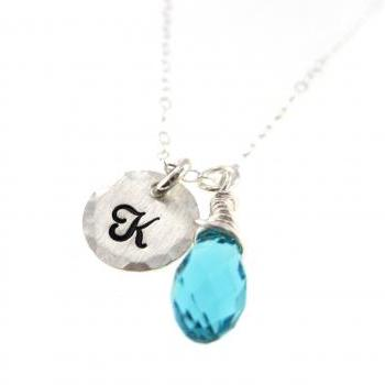 Tiny Silver Initial with Fancy Birthstone Crystal Drop