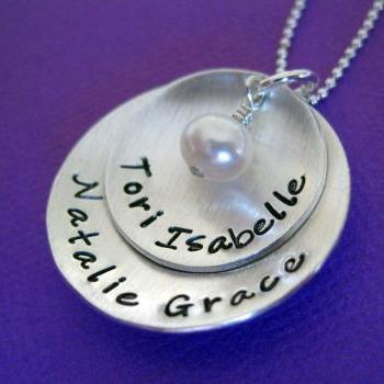 Two Discs Cupped with Love - Sterling Silver Hand Stamped Jewelry