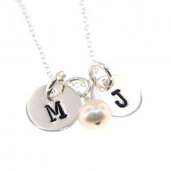 Personalized Mommy Jewelry - Sterling Silver Initials and Freshwater Pearl By Hannah Design